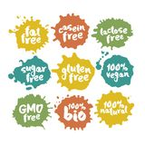 Eco Vegan Food Labels Set on Color Inkblots. Calligraphy hand written labels with eco vegan food words and phrases on color inblots. Isolated on white. Clipping royalty free illustration