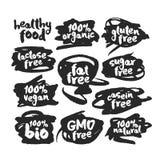 Eco Vegan Food Labels Set on Scribbles royalty free illustration