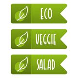 Eco, veggie and salad vegan banner set. Eps10 Vector Royalty Free Stock Images
