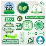 Eco vektorsymboler och tecken Royaltyfria Bilder