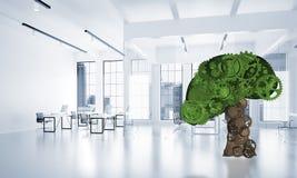 Eco verdissent le concept d'environnement présenté par l'arbre en tant que le mécanisme ou moteur fonctionnant Images stock