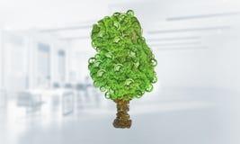 Eco verdissent le concept d'environnement présenté par l'arbre en tant que le mécanisme ou moteur fonctionnant Photo libre de droits