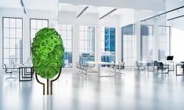 Eco verdissent le concept d'environnement présenté par l'arbre en tant que le mécanisme ou moteur fonctionnant Photo stock