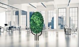 Eco verdissent le concept d'environnement présenté par l'arbre en tant que mecha fonctionnant Photographie stock