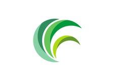 Eco verdissent le logo, vecteur de conception de symbole d'usine de nature d'herbe de feuilles de cercle Images libres de droits