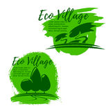 Eco village, green living and ecology icon set Royalty Free Stock Images