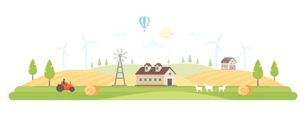 Eco village - modern flat design style vector illustration. On white background. A high quality composition with a barn, house, field, windmills, tractor Royalty Free Stock Image