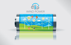 Eco vindbatteri Vektor Illustrationer