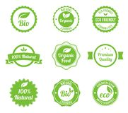 Eco Vintage Labels Bio template set. Royalty Free Stock Images