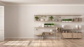 Eco vit inredesign med träbokhyllan, diy vertikala gummin royaltyfria bilder