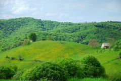 Eco vivant dans une maison sur des collines Photographie stock libre de droits