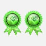 Eco vänlig organisk etikett Arkivfoto