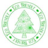 Eco vänlig stämpel med trädet Arkivfoton