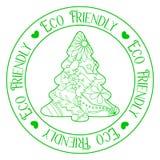 Eco vänlig stämpel med trädet Royaltyfri Fotografi