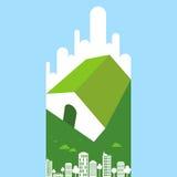 Eco vänligt begrepp i stads- avkänning Royaltyfria Bilder