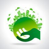 Eco vänligt begrepp i stads- avkänning Arkivfoton