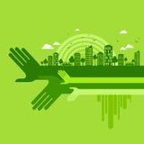Eco vänligt handbegrepp, illustration Royaltyfri Fotografi