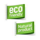 Eco vänskapsmatch och naturproduktetiketter Royaltyfria Bilder