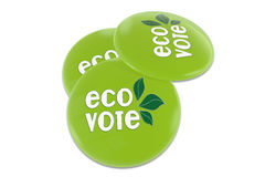 Eco vote Badge. 3D green badge with text Eco vote Royalty Free Stock Photography
