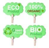 Eco vriendschappelijk die etiket, op witte achtergrond wordt geïsoleerd Stock Foto