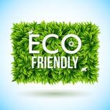 Eco vriendschappelijk die etiket van bladeren wordt gemaakt Vector illustratie Stock Foto's