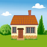 Eco vriendschappelijk huis op een achtergrond van aard Royalty-vrije Stock Foto