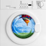 Eco washing machine. Fine 3d image of classic washing machine and scenic view, metaphoric concept Stock Images