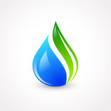 Eco Water Drop. Illustration of Eco Water Drop With Green Leaf royalty free illustration