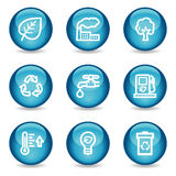 Eco web icons, blue glossy sphere series Stock Photography