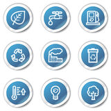 Eco web icons set 1, blue sticker series. Vector web icons set. Easy to edit, scale and colorize vector illustration