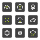 Eco web icons set 2, grey square buttons series. Vector web icons set. Easy to edit, scale and colorize stock illustration