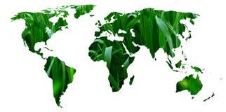 Eco-Weltkarte gemacht von den grünen Blättern, Konzeptökologie Stockfotografie