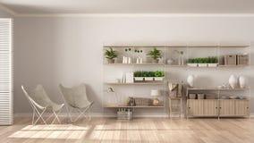 Eco wewnętrzny projekt z drewnianym półka na książki, diy vertical ogród s Zdjęcia Royalty Free