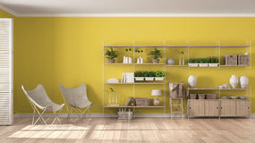 Free Eco White And Yellow Interior Design With Wooden Bookshelf, Diy Stock Images - 90542034