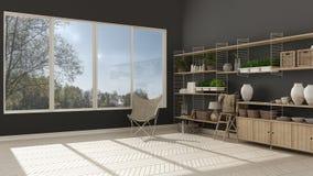 Eco white and gray interior design with wooden bookshelf, diy ve Stock Photo