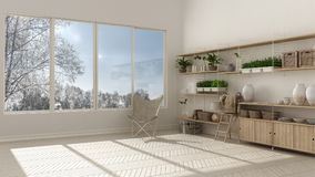 Eco white interior design with wooden bookshelf, diy vertical ga Royalty Free Stock Images