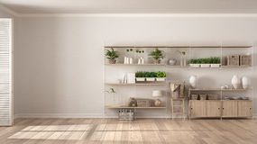 Eco white interior design with wooden bookshelf, diy vertical ga. Rden storage shelving, living room background Royalty Free Stock Images