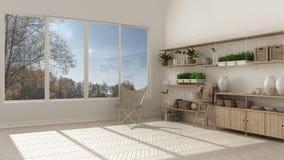 Eco white interior design with wooden bookshelf, diy vertical ga Stock Images