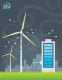 Eco windmills city energy charging. Illustration of eco windmills city energy charging with big battery Royalty Free Stock Photography