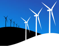 Eco windmills illustration Royalty Free Stock Photos