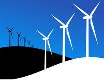 Eco windmills illustration Royalty Free Stock Photos