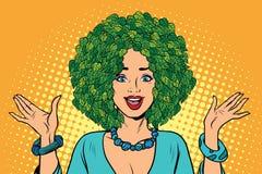Eco woman hair green plants nature stock illustration