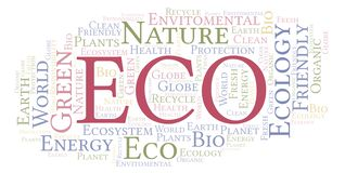 Eco word cloud. Wordcloud made with text only vector illustration