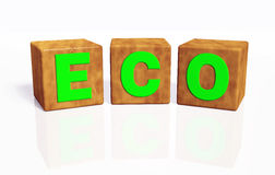 Eco word composed by three cubes Stock Photos