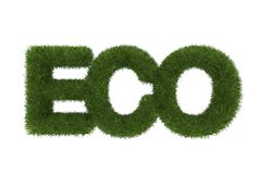 Eco word made of green grass ,3d Stock Photography
