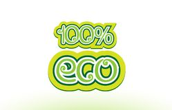 100% eco word text logo icon typography design. 100% eco word or text logo badge on a white background Royalty Free Stock Images