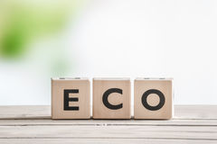 Eco word on wooden cubes Stock Photo