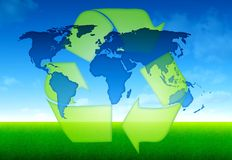 Eco world global concept. Ecology blue world map concept Royalty Free Stock Image