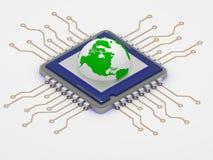 Eco world globe on cpu smart green technology 3d render. Half globe icon on cpu art isolated Stock Photos