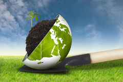 Eco world on grass sky background new. Globe with plant growing on gardening tools dirt on grass sky background Stock Photo